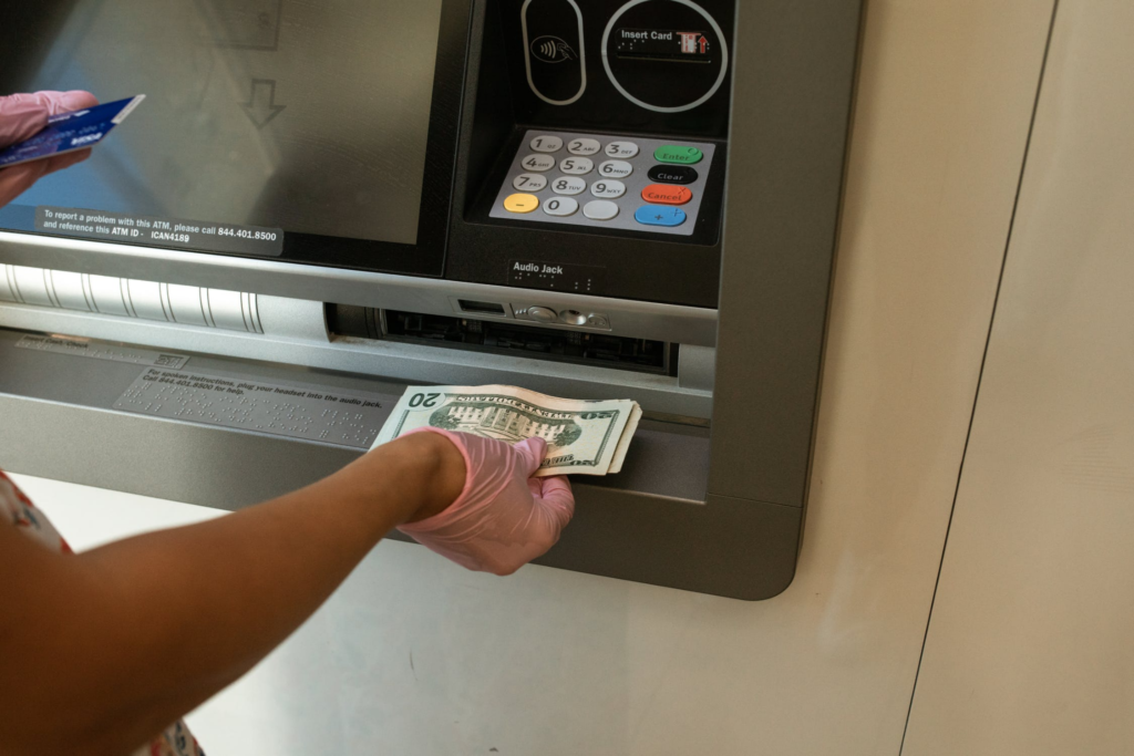 withdrawal sum of money at an ATM