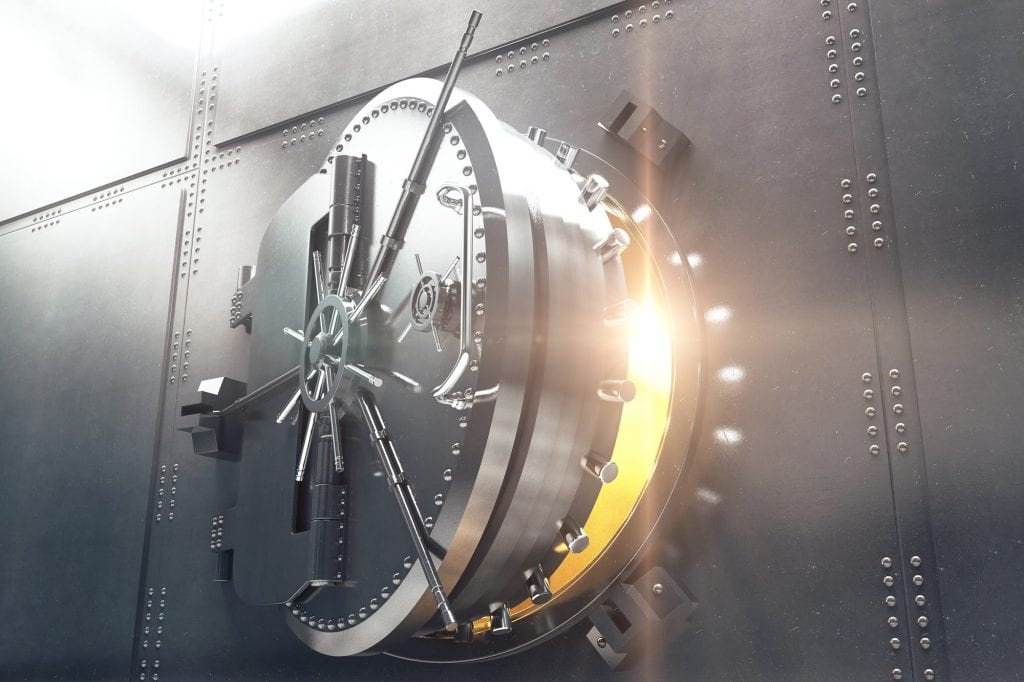 Closeup-of-bank-vault-door