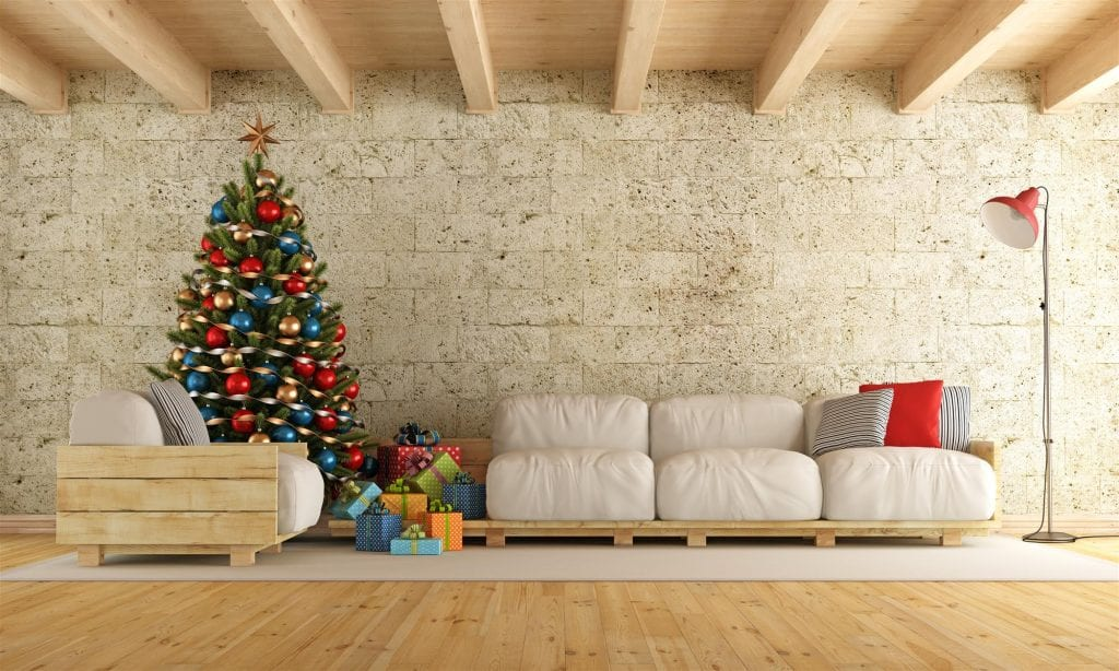 christmas living room with pallet sofa