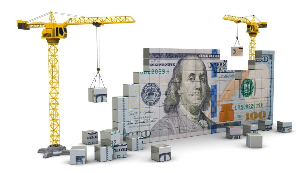 D Illustration Of Two Cranes Building Dollars