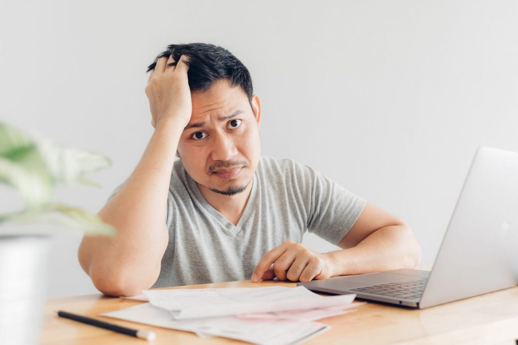 Sad Man Has Problems With Billing And Debts