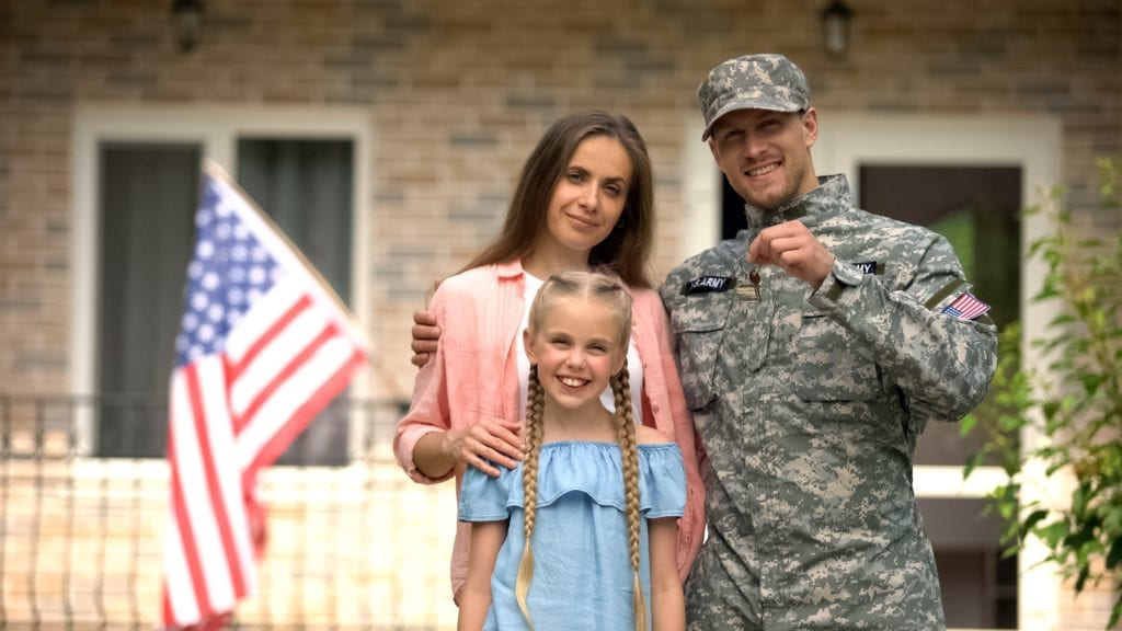 Veteran With Wife And Daughter