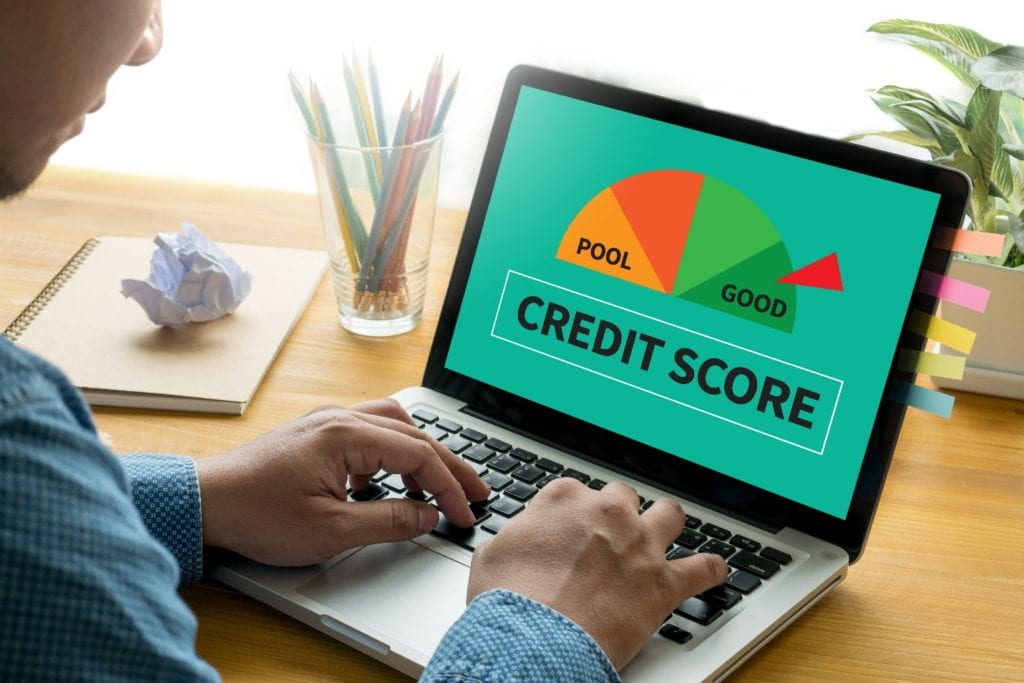 Businessman Checking Credit Score Online and Financial payment Rating