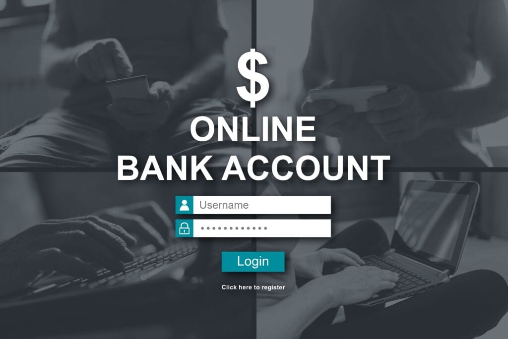 Online bank account concept illustrated by a picture