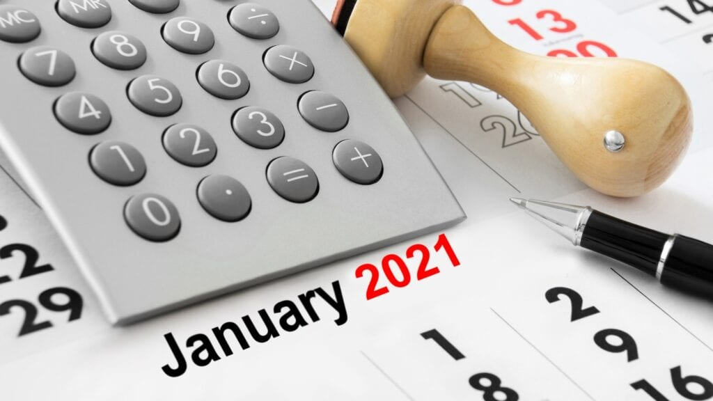 Calendar with calculator and January 2021